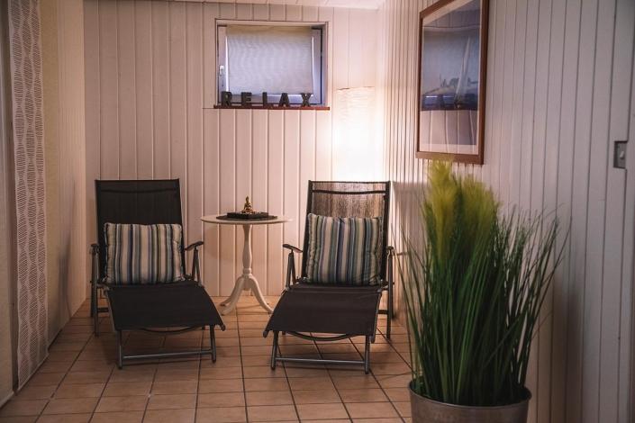Ferienhaus Möwe Jonathan - Ruhebereich der Sauna